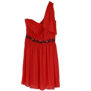Jessica Simpson Red One Shoulder Dress Size 8